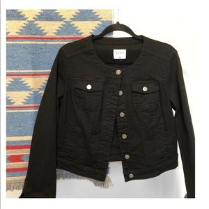Elle Jackets & Coats - LIKE NEW | Elle Scoop Neck Black Denim Jacket
